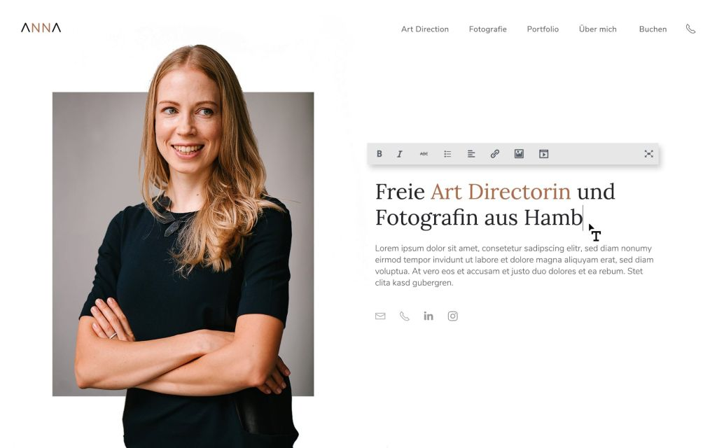 Webdesign WordPress Fotografin Beispiel